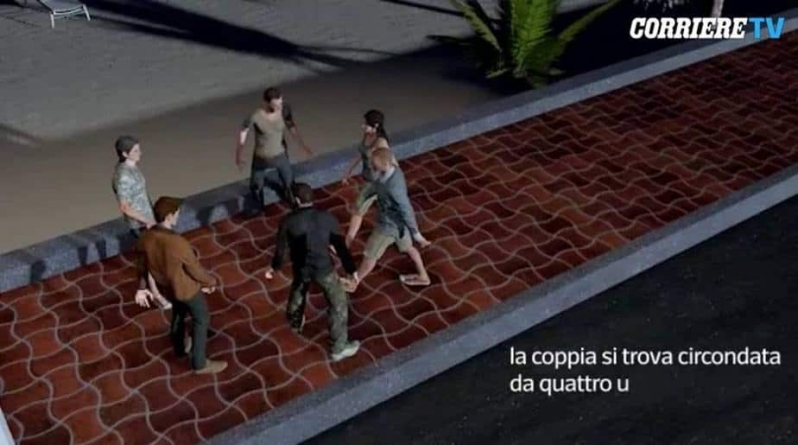 W wizualizacji zajść w Rimini pokazuje się białych napastników