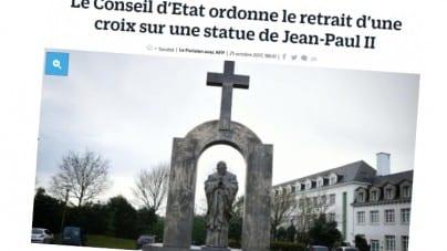 Francja chce zdjąć krzyż z pomnika Jana Pawła II. Szydło: Nie ma zgody na cenzurę, przenieśmy pomnik do Polski