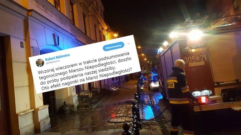 Lewackie bojówki podłożyły ogień pod siedzibę Marszu Niepodległości?