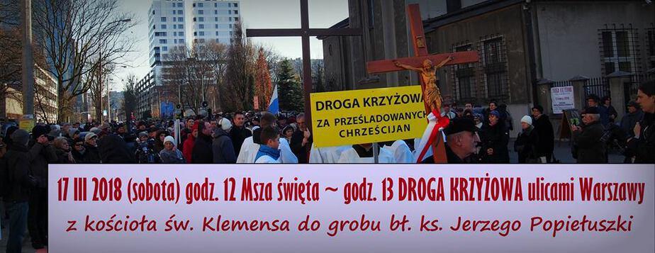Droga Krzyżowa w intencji prześladowanych chrześcijan przejdzie ulicami Warszawy