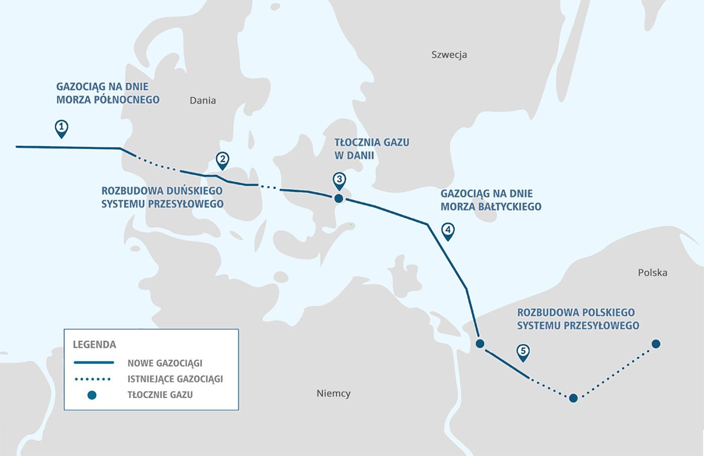 Mapa budowy Baltic Pipe.