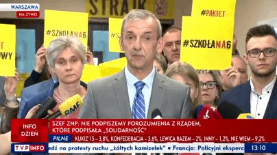 Strajk nauczycieli zawieszony do września: Panie Premierze czekamy na rozwiązanie problemu