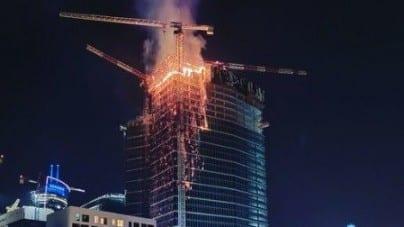 Pożar w wieżowcu Warsaw Hub