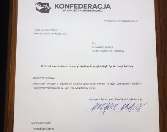 Konfederacja chce odwołać Magdalenę Biejat. Jest oficjalny wniosek