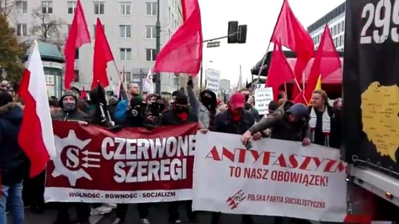 """""""Marsz Antyfaszystowski"""". Antifa, czerwone flagi i posłowie SLD"""