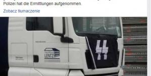 """Nazistowskie symbole na niemieckich ciężarówkach i hasła: """"Nie narzekaj, walcz"""""""