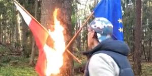 Tak szanują Polskę! Działacz LGBT spalił polską flagę [WIDEO]