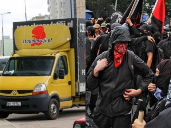 PILNE! Warszawa: Antifa zaatakowała samochód pro-life. Przebite opony, poturbowani wolontariusze