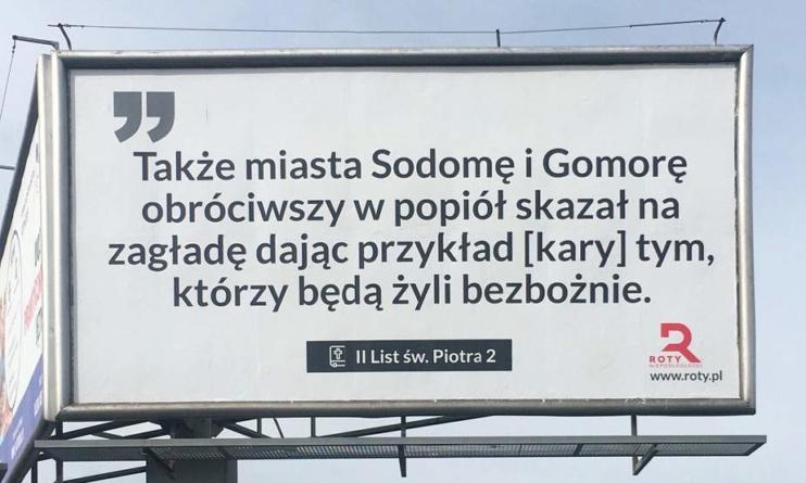 """Warszawa: Fragmenty Biblii na billboardach. LGBT oburzone! Bąkiewicz: """"Nie piętnujemy ludzi, ale zło"""""""