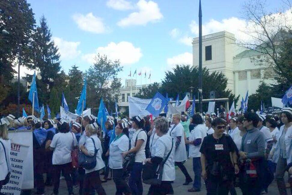 Manifestacja pielęgniarek.
