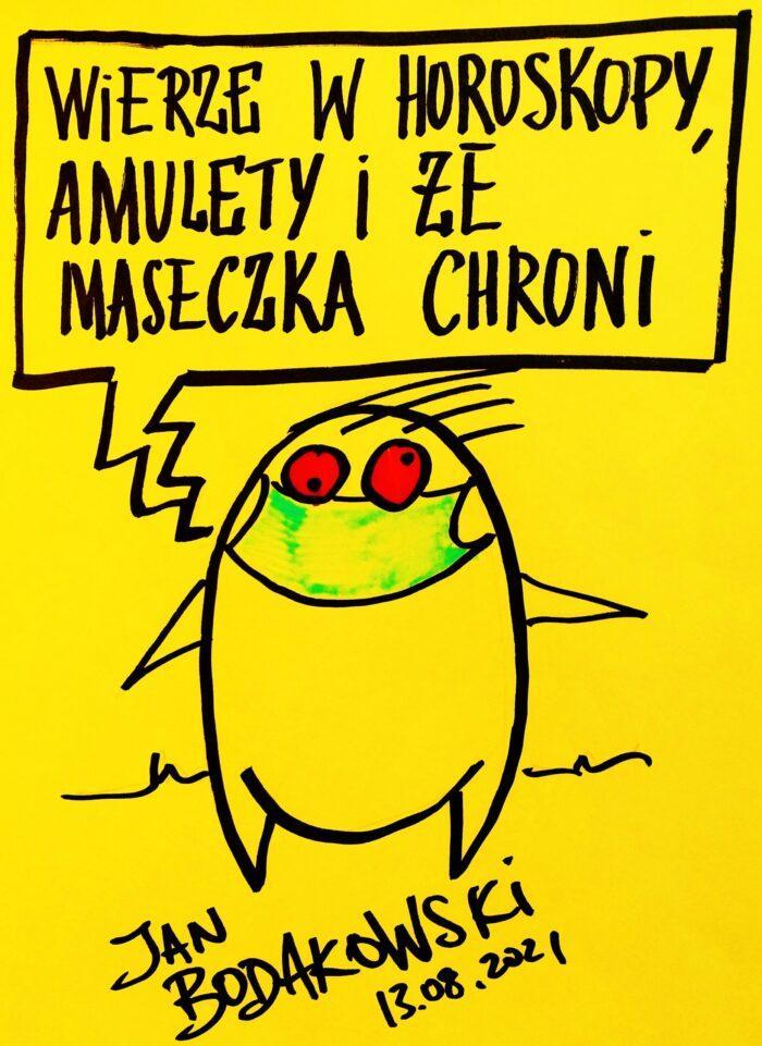 maseczka rysunek Jan Bodakowski