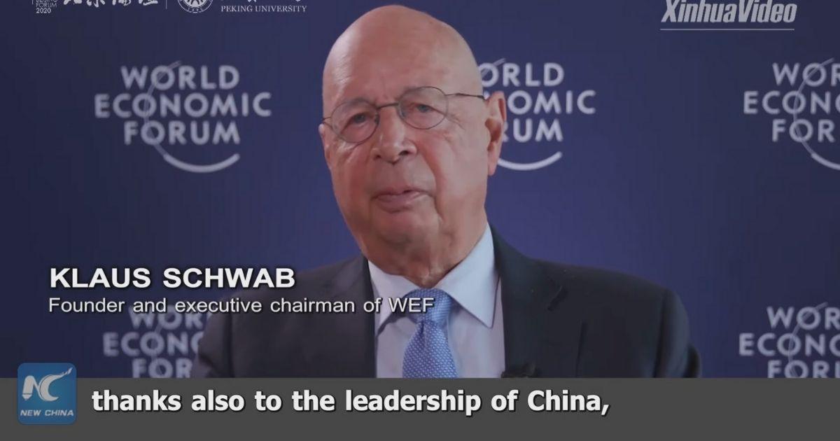 Klaus Schwab w wywiadzie dla chińskiej telewizji.