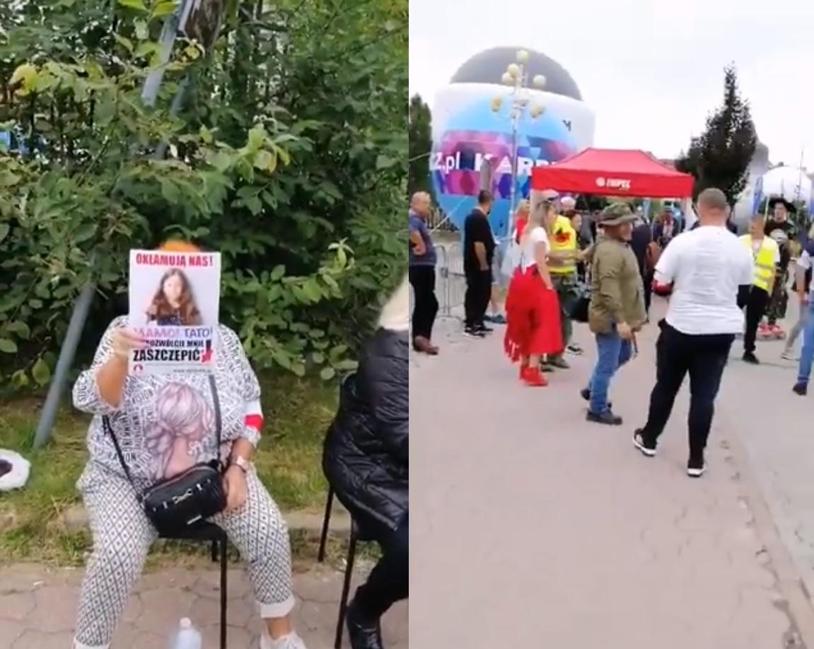Antyszczepionkowcy pikietują przed wjazdem na teren Forum Ekonomicznego