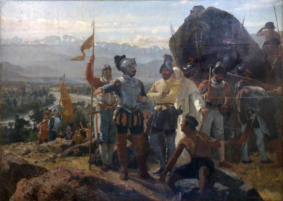 Pedro de Valdivia zakłada Santiago (obraz Pedro Liry) MUSEO HISTORICO NACIONAL foto Wikipedia