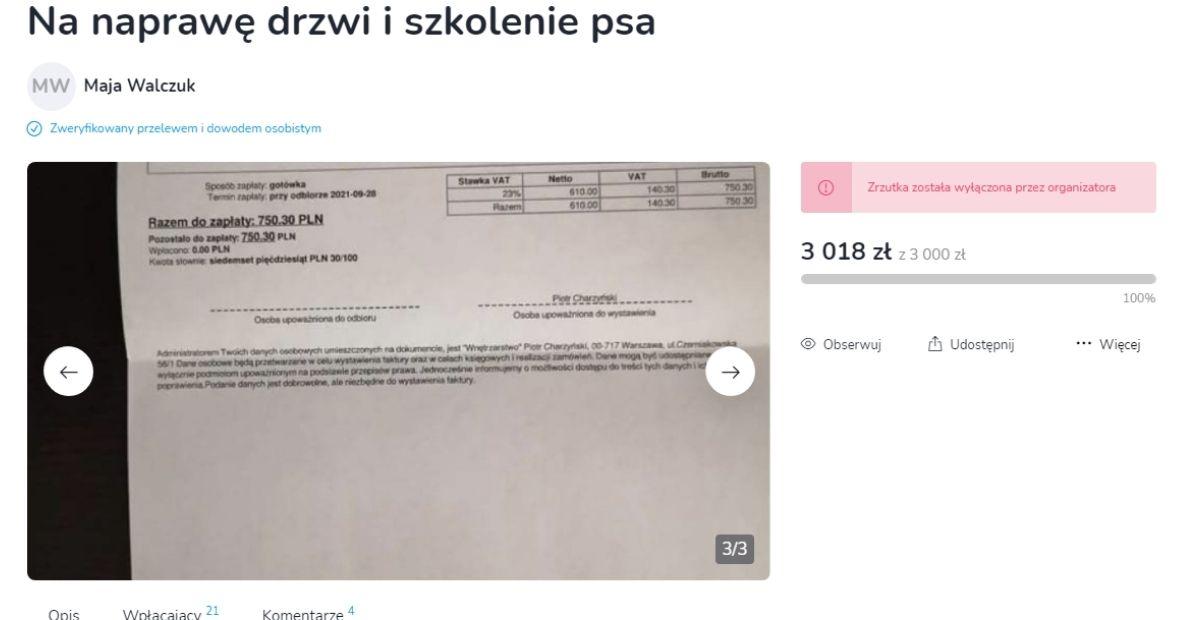 Maja Walczuk tłumaczy się ze zbiórek pieniędzy